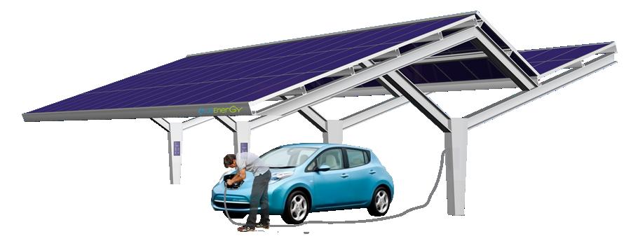 Fotolineras alimentadas por energía solar. Puntos de recarga alimentado con energía solar.