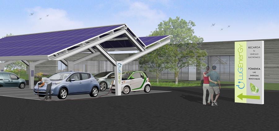 Punto de recarga abastecido con energía solar para la recarga de vehículos eléctricos