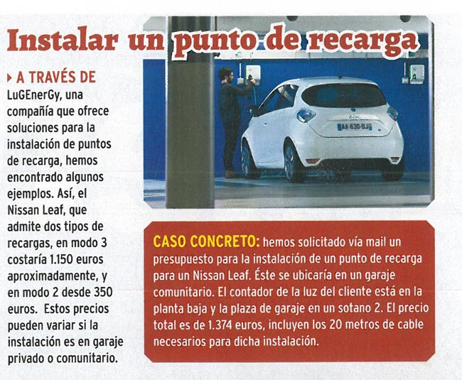 Recorte de Coche Eléctrico en la Revista Coche Actual. punto de recarga