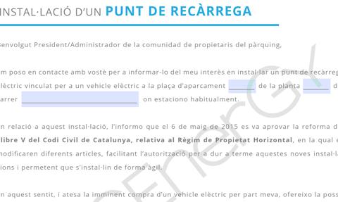 comunicacio instalacio punt de recarrega vehicle electric