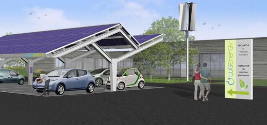 Estación para cargar coches eléctricos con placas solares